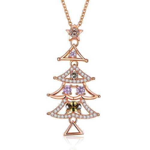 INALIS Women's Sweet Delicate Christmas Tree Zircon Necklace