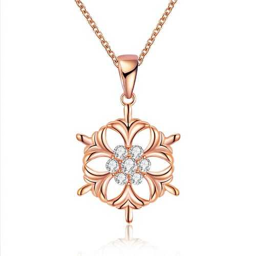 INALIS Snowflake Pendant Necklace Christmas for Women
