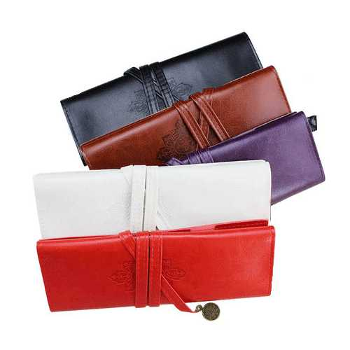 WAM PC-1031 PU Leather Pen Bag Pencil Case Makeup Pouch Vintage Style Roll Up Pencil Bags
