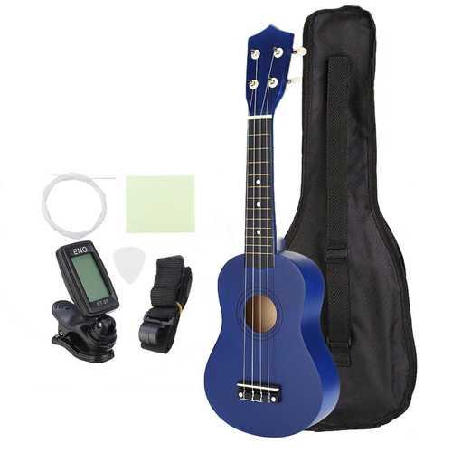 21 Inch Economic Soprano Ukulele Uke Musical Instrument With Gig bag Strings Tuner Blue