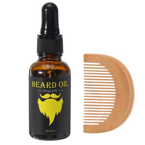 Beard Growth Essenti Oil Conditioner 100% Pure Natural Organic for Groomed Beards Styles With Mustaches Comb