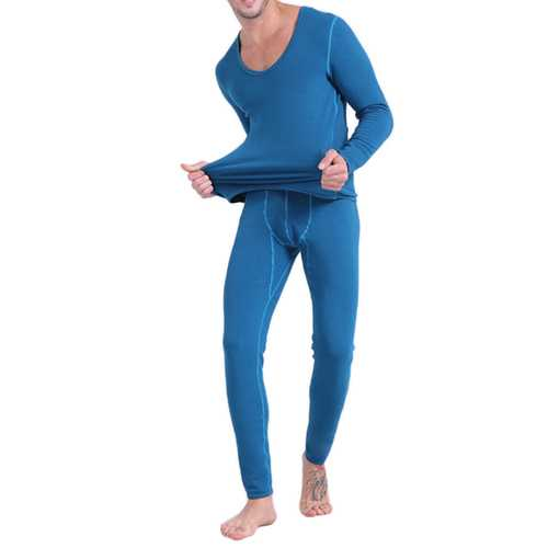 Home Thermal Fleece Warm Soft Thick O Neck Long Johns Pajama