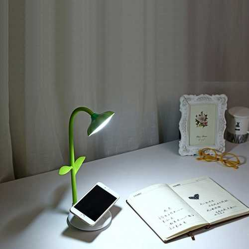 3W Sunflower Flexible Touch Dimmable LED Table Lamp Rechargeable with smartphone Stand Holder