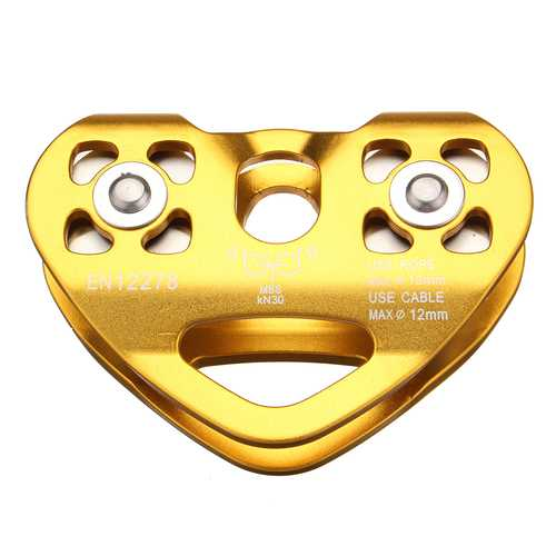 30KN Golden Outdoor Rock Climbing Dual Pulley Zip Line Rescue Cable Trolley