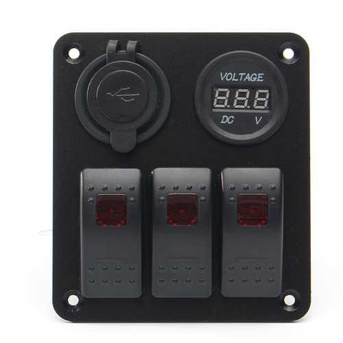 12/24V 4 Gang LED Rocker Switch Panel Marine Boat Voltmeter Dual USB Charger