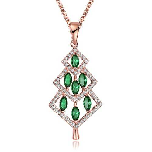 INALIS Christmas Tree Pendant Green Zirconia Necklace Gift