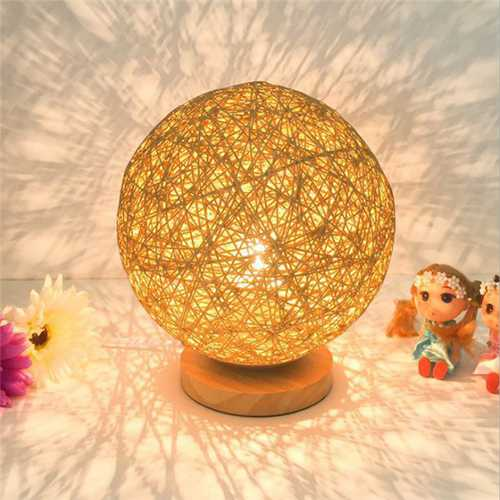 60W E27 Dimmable Sepak Takraw Wood Desk Light Night Lamp AC110--220V