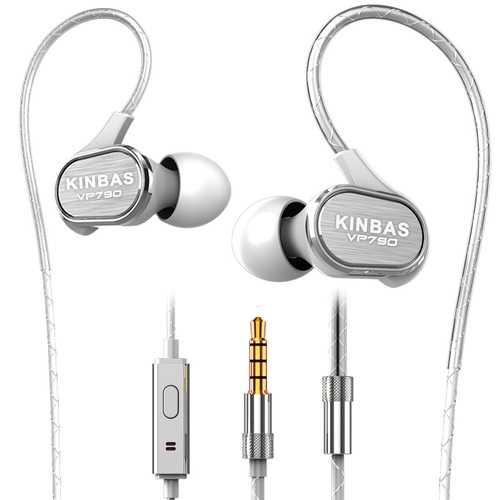 KINBAS VP790 3.5mm Wired Control HiFi Deep Bass In-Ear Metal Earphone with Builit-in Mic