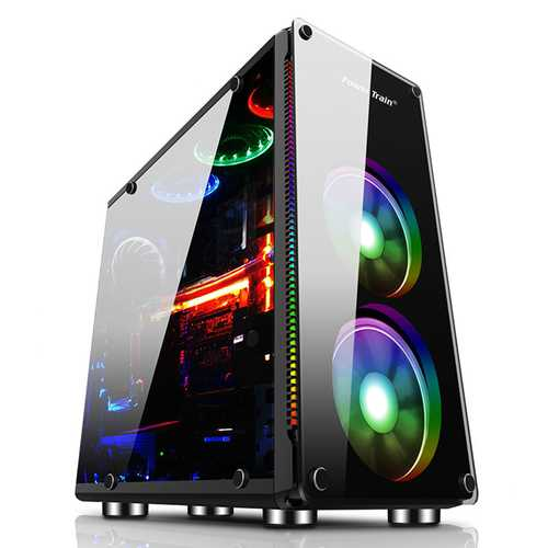 Clear Side Gaming Black Micro ATX ITX  PC Computer Case