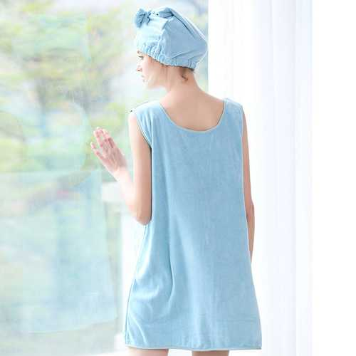 Honana BX-R968 Soft Bathrobe Women Bath Dress Microfiber Cozy Spa Bath Skirt with Bath Cap