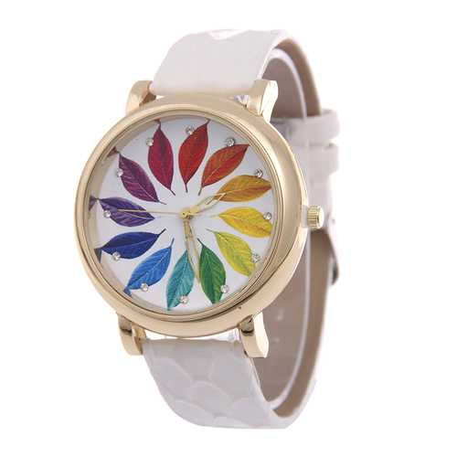 AL0812 Maple Picture Women Watch Genuine Leather Quartz Wrist Watch