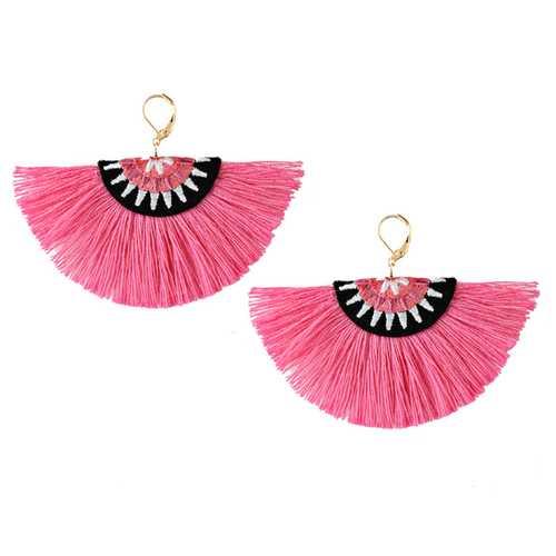 Bohemian Semicircle Tassel Pendant Dangle Women Earring