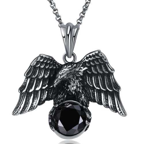 Men's Jewelry Punk Stainless Steel Pendant Necklace Trendy Eagle Zirconia Sweater Chain