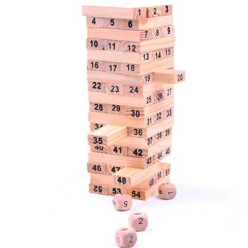 Wooden Tower Building Blocks Toy Domino 54 Stacker Extract Game Kids Educational Christmas Gifts