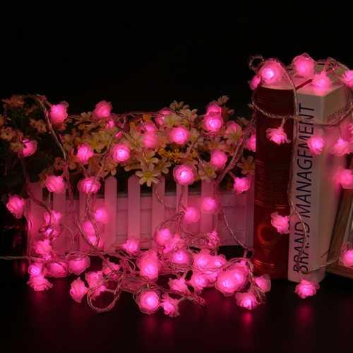 10M 100LEDs 8 Modes Pink White Rose Flower Fairy String Light for Christmas Patio AC220V