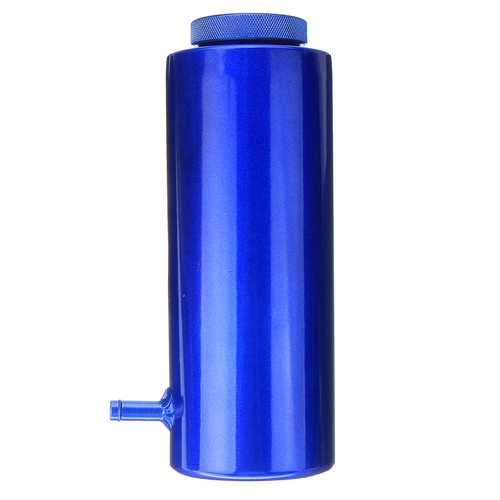 800ml Cylinder Radiator Overflow Reservoir Coolant Tank Black/Blue Aluminum Can