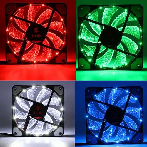 120mm 15pcs LED Light Neon PC Computer Case CPU Cooling Fan Mod Cooler 3Pin 4Pin