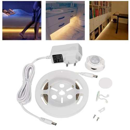 1.5M 7.2W SMD3528 Waterproof Motion Sensor Timer Adjustable Warm White LED Strip Light DC12V