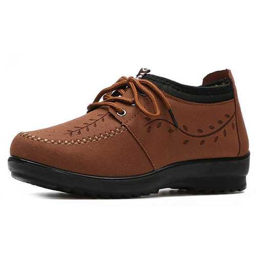 Lace Up Casual Cotton Faux Fur Lining Shoes