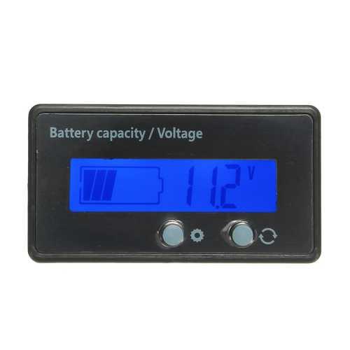 12V 24V 36V 48V 6V-63V LCD Voltmeter Lead-Acid Battery Capacity Indicator