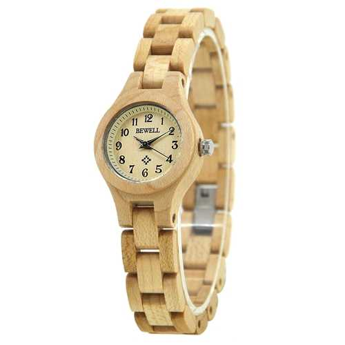 BEWELL ZS-W123A Simple Fashionable Wood Watch Women Quartz Wrist Watch