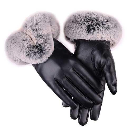 Women Cold Winter Warm Thick Rabbit Fur Leather Ski Gloves