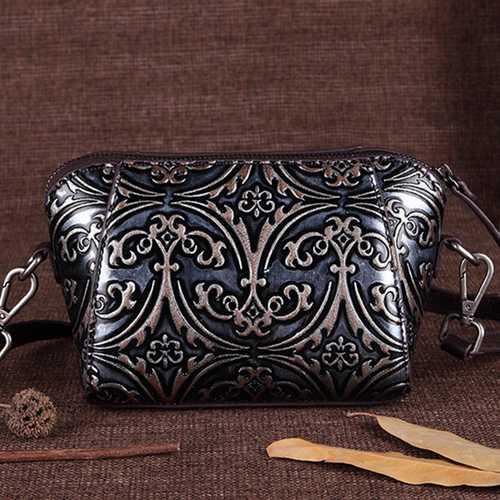 Brenice Genuine Leather Retro Handwork Knurling Shoulder Bag