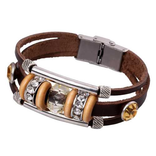 Retro Women Genuine Leather Bangle Rhinestone Bead Bracelet