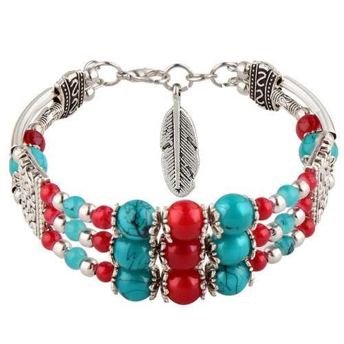 Ethnic Colorful Beads Tibetan Silver Leaf Women Bracelet