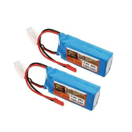 2 PCS ZOP Power 7.4V 1300mah 25C 2S Lipo Battery JST Plug
