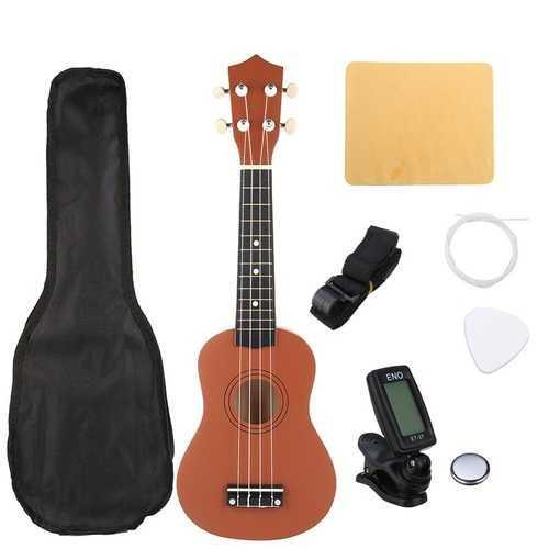 21 Inch Brown Soprano Basswood Ukulele Uke Hawaii Guitar Musical Instrument