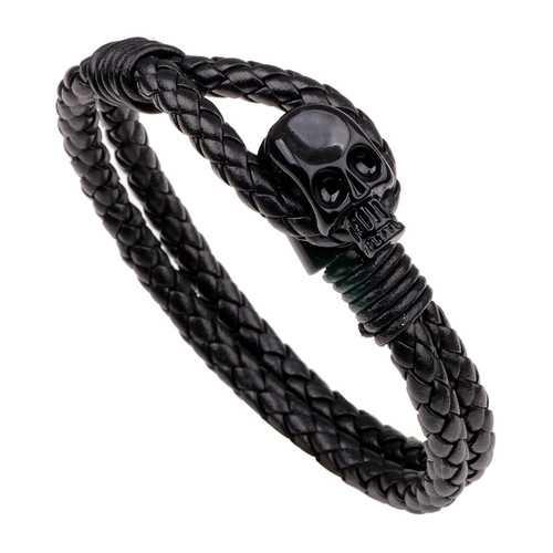 Punk Gold Skull Leather Wrap Chain Fashion Bangle Bracelets
