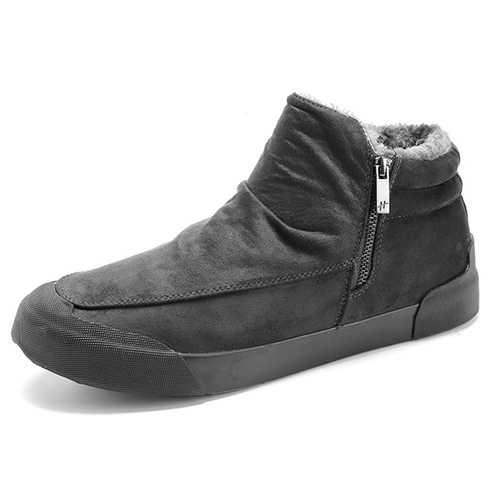 Comfy Men Casual Soft Warm Fur Lining Side Zipper High Top Sneakers Boots