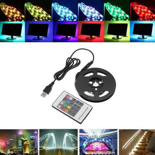 1M 2M 5050 USB RGB Non-Waterproof LED Strip Light With 20 Keys Remote Control DC5V