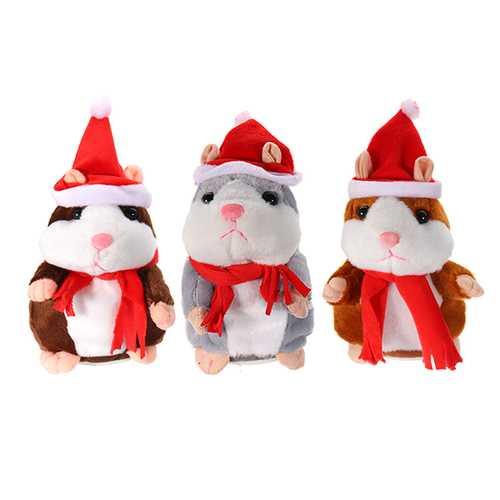18CM Lovely Talking Hamster Christmas Plush Toy Speak Talking Sound Record Hamster Talking Toys