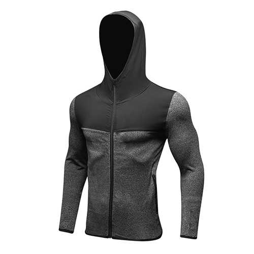 Men Hoodie Soccer Jersey Compression Fitness Tight T-Shirt Gym Sportswear Running Jacket