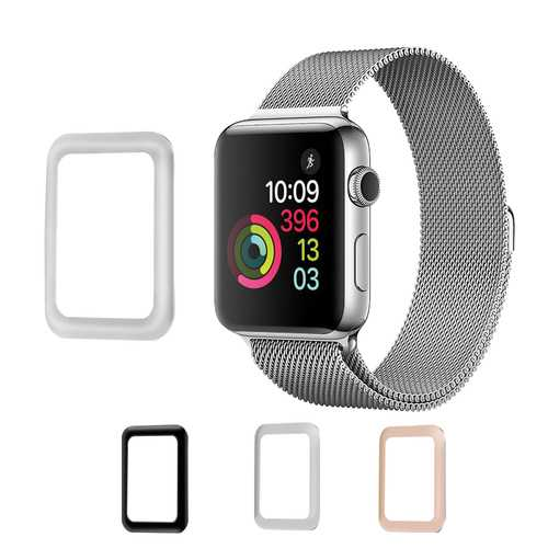 Aluminum Alloy Edge 0.2mm Tempered Glass Screen Protector Film for Apple Watch Series 3 42mm