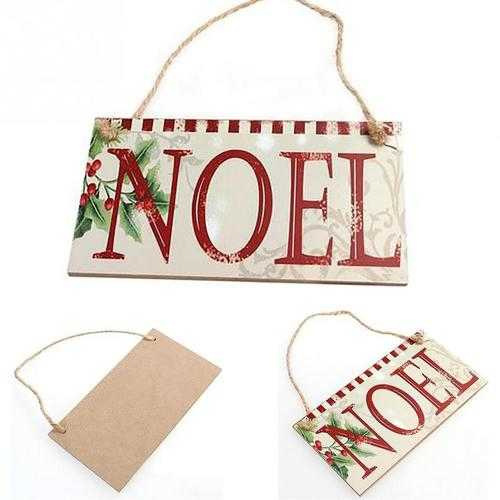 Christmas Party NOEL Wooden English Word Listing Rectangle Hanging Wall Sign Decorations