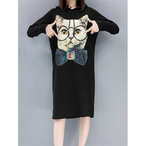 Cartoon Cat Printed Hooded Dress