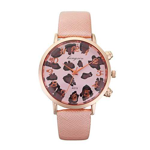 HY Bright Skin Leopard Clock Dial Lady Rose Gold Shell Snake