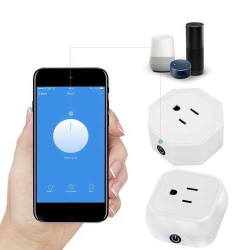 LUSTREON 10A Voice Control WIFI Smart US Plug Timer Socket Works With Amazon Alexa AC100-240V