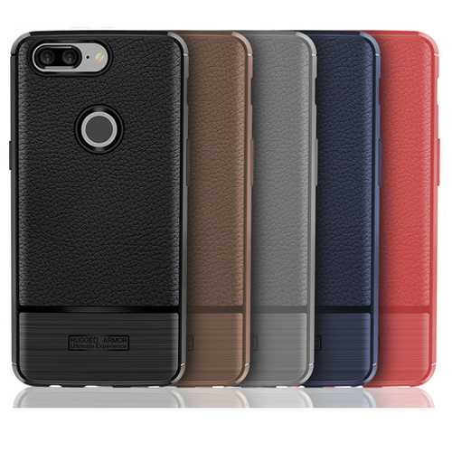 Bakeey Litchi Pattern Anti-fingerprint TPU&Silicone Leather Case For OnePlus 5T