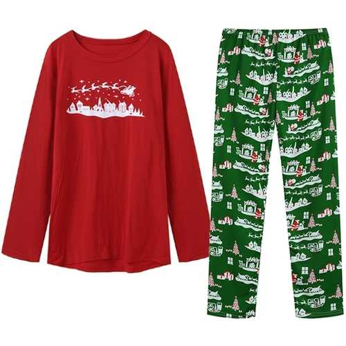 Christmas Snowman Printing Home Pajamas Sleepwear Two-piece
