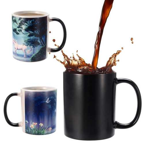350ml Novelty Unicorn Heat Color Changing Coffee Mugs Home Office Cup Kids Gifts