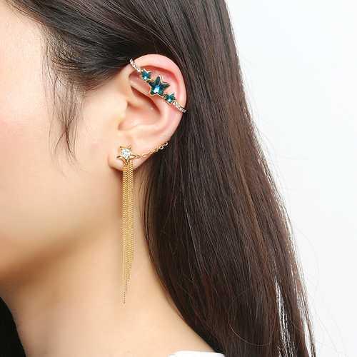 Inlaid Crystal Tassel Charm Star 18K Gold Plated Ear Cuff