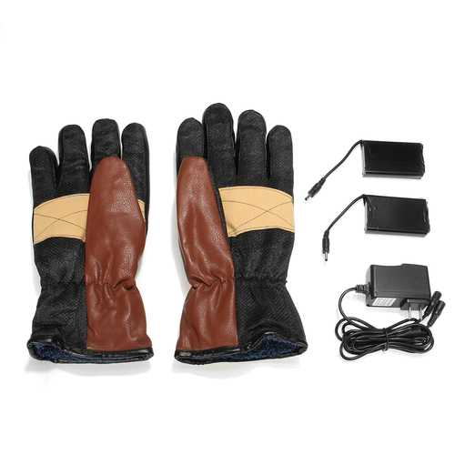 7.4V Leather Waterproof Electric Heated Gloves Battery Motorcycle Winter Warmer