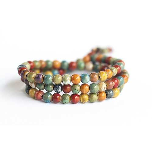 108pcs Tibetan Buddhist Ceramic Multilayer Beaded Bracelet