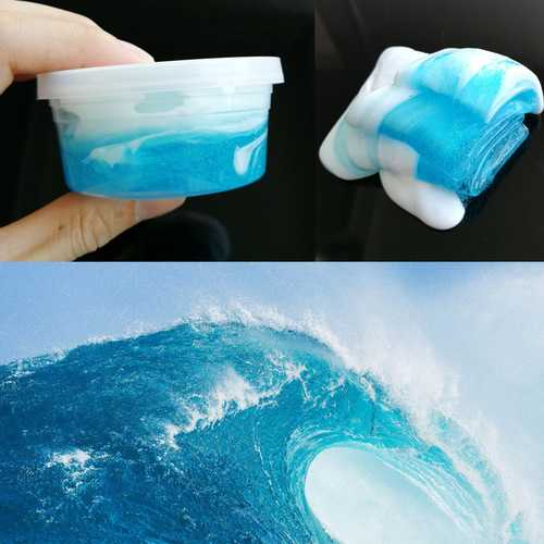 120ML Sea Wave DIY Style Fluffy Slime Light Modeling Polymer Clay No Borax Antistress Toy