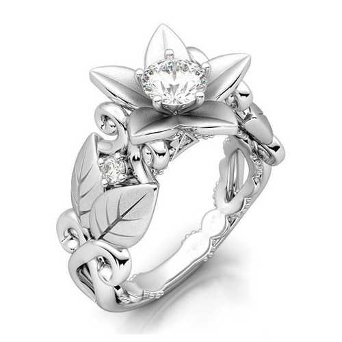 Elegant Platinum Plated Inlaid Flower Leaf Hollow Women Ring