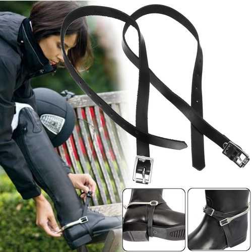 1 Pair Mens Ladies Western Harness Leather Spur Straps Cowboy Horse Buckles Black